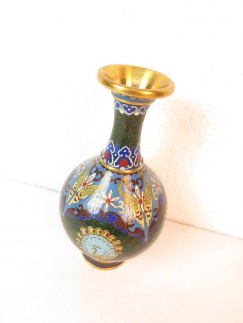 Bild 2 von 70er Vase Messing+Emaille