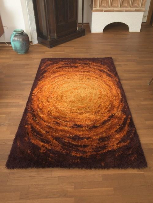 Bild 2 von Vintage Woll-Teppich Orange-Braun 120x200