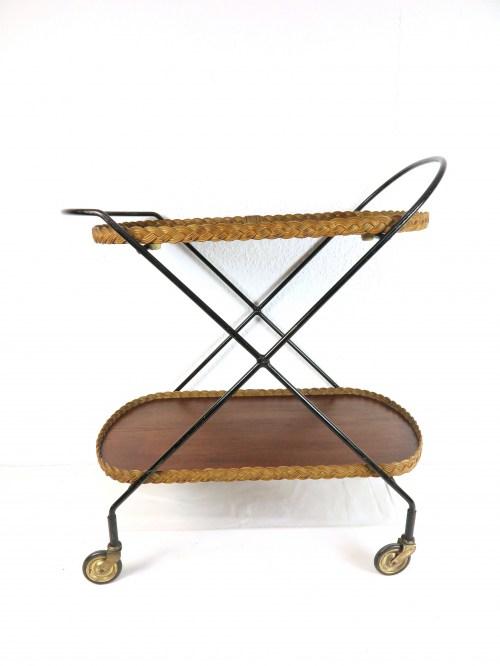 Bild 1 von 60er Teewagen mit handgeflochtenen Peddigrohrrand
