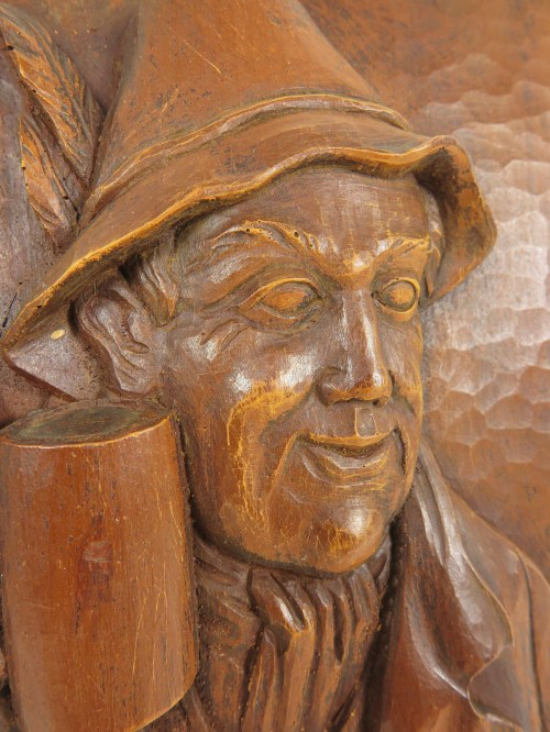 Bild 3 von 70er Holzbild Biertrinker Edelhoz