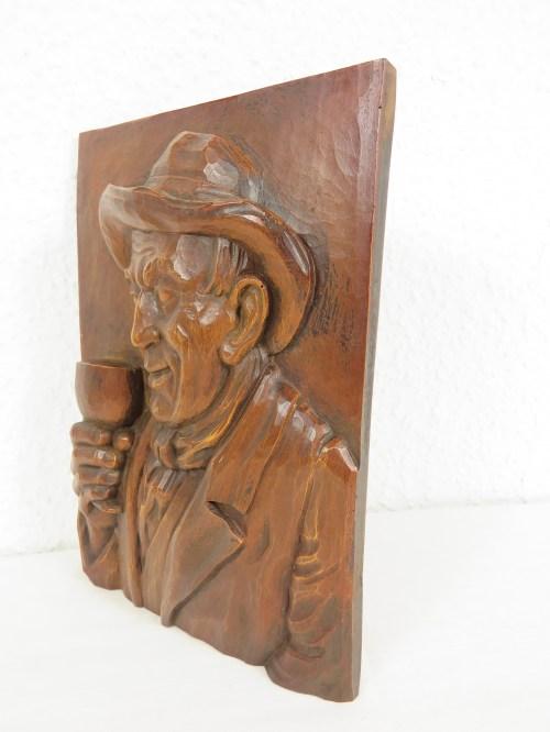 Bild 2 von 70er Holzbild, Der Weintrinker
