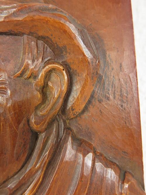 Bild 4 von 70er Holzbild, Der Weintrinker