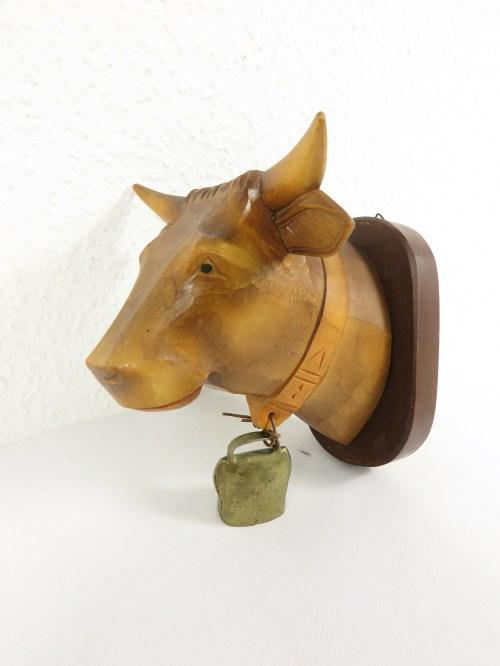 Bild 1 von 70er Kuh Holzkopf Handgeschnitzt